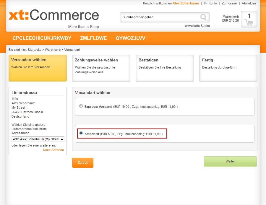 Darstellung der inselzuschläge im xt:Commerce Checkout