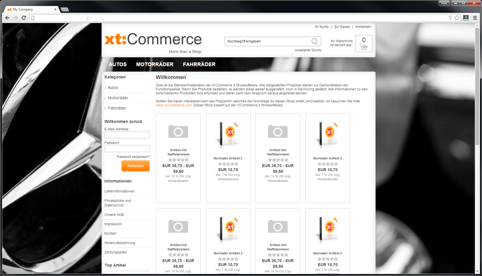 Startpage responsive background images in xt:Commerce