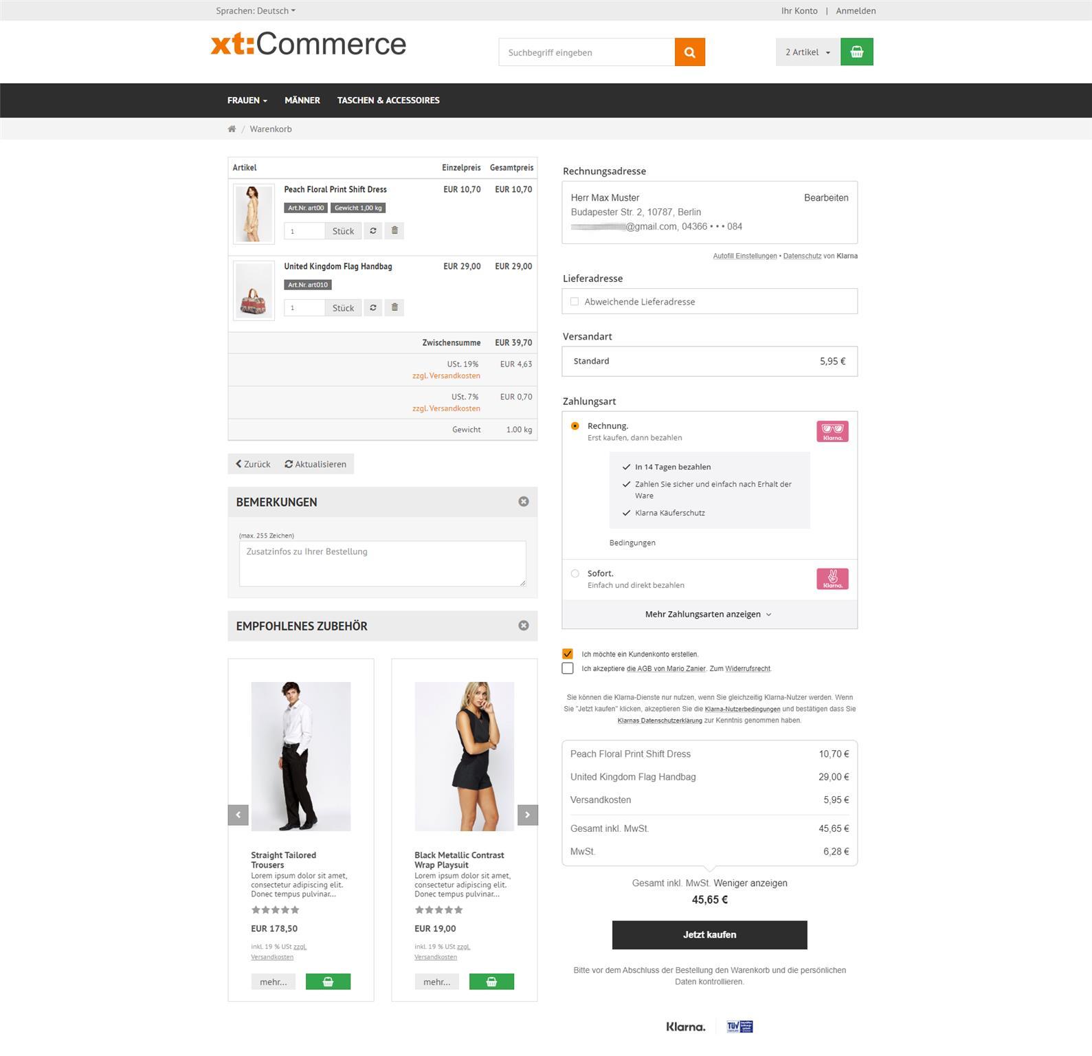 KlarnaCheckOut in xtCommerce 6 - Ansicht für Neukunden